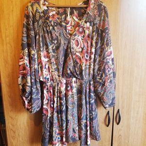 Free People Longsleeve Floral Mini Dress Sz XS